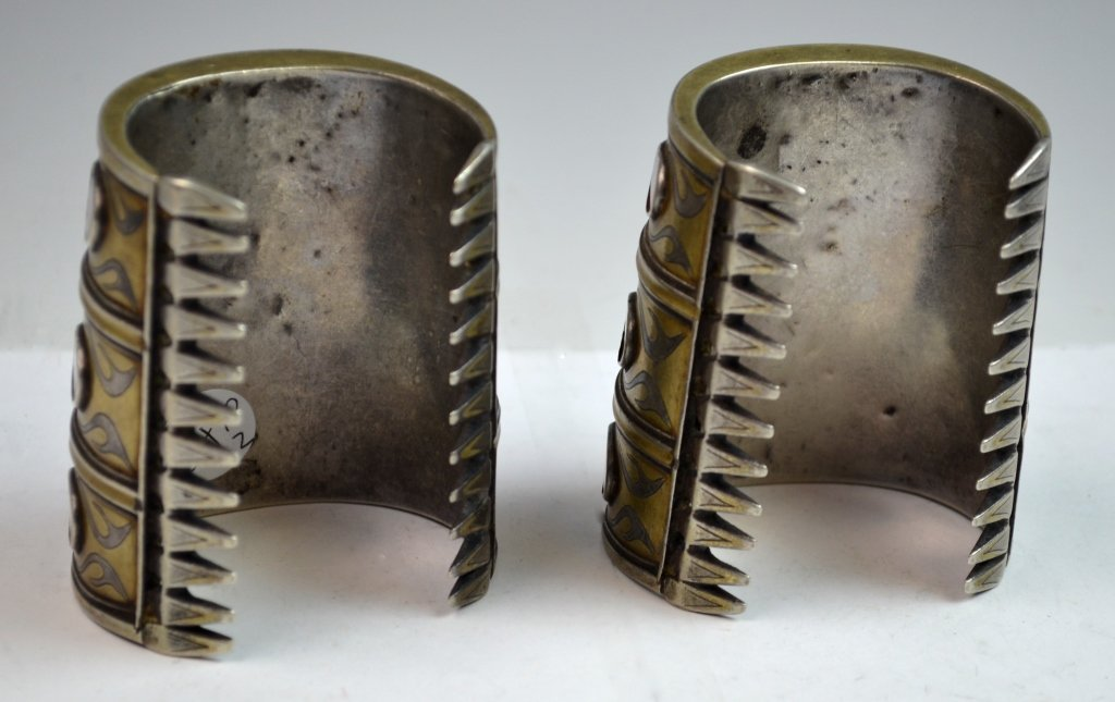 Two 19th C. Silver & Agate Inlaid Bracelet - 3