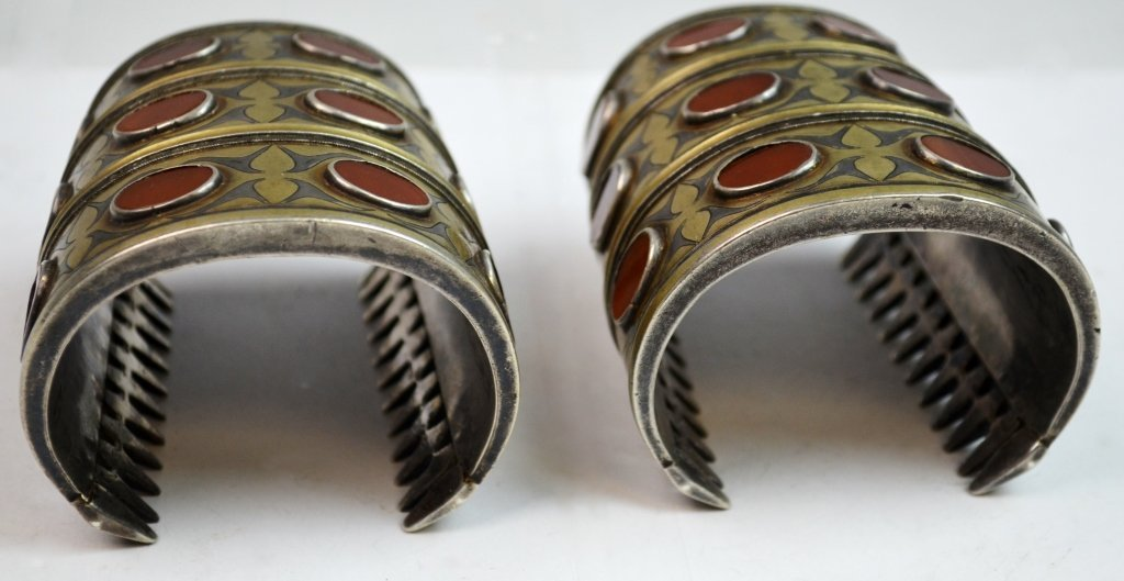 Two 19th C. Silver & Agate Inlaid Bracelet - 4