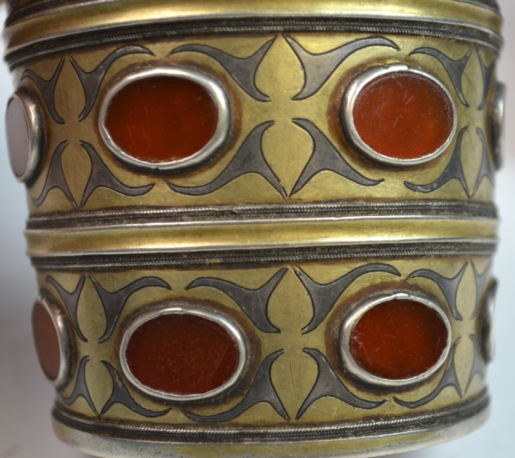 Two 19th C. Silver & Agate Inlaid Bracelet - 5
