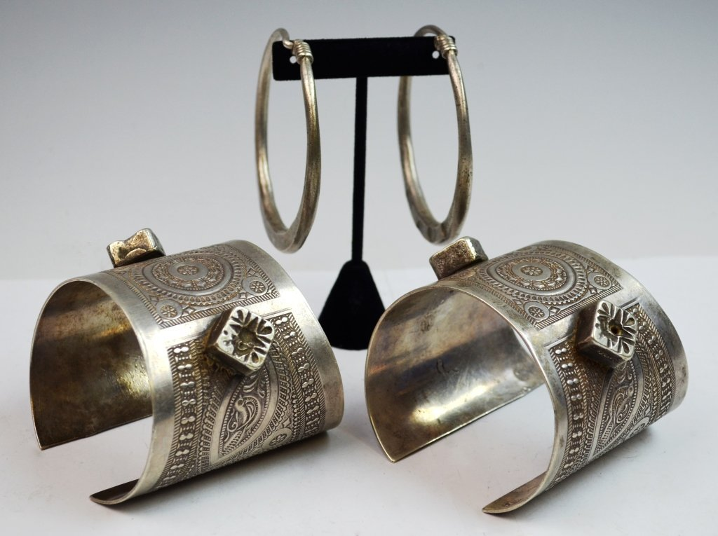 Islamic Tribal Silver 2 Bracelets and 2 Earlings