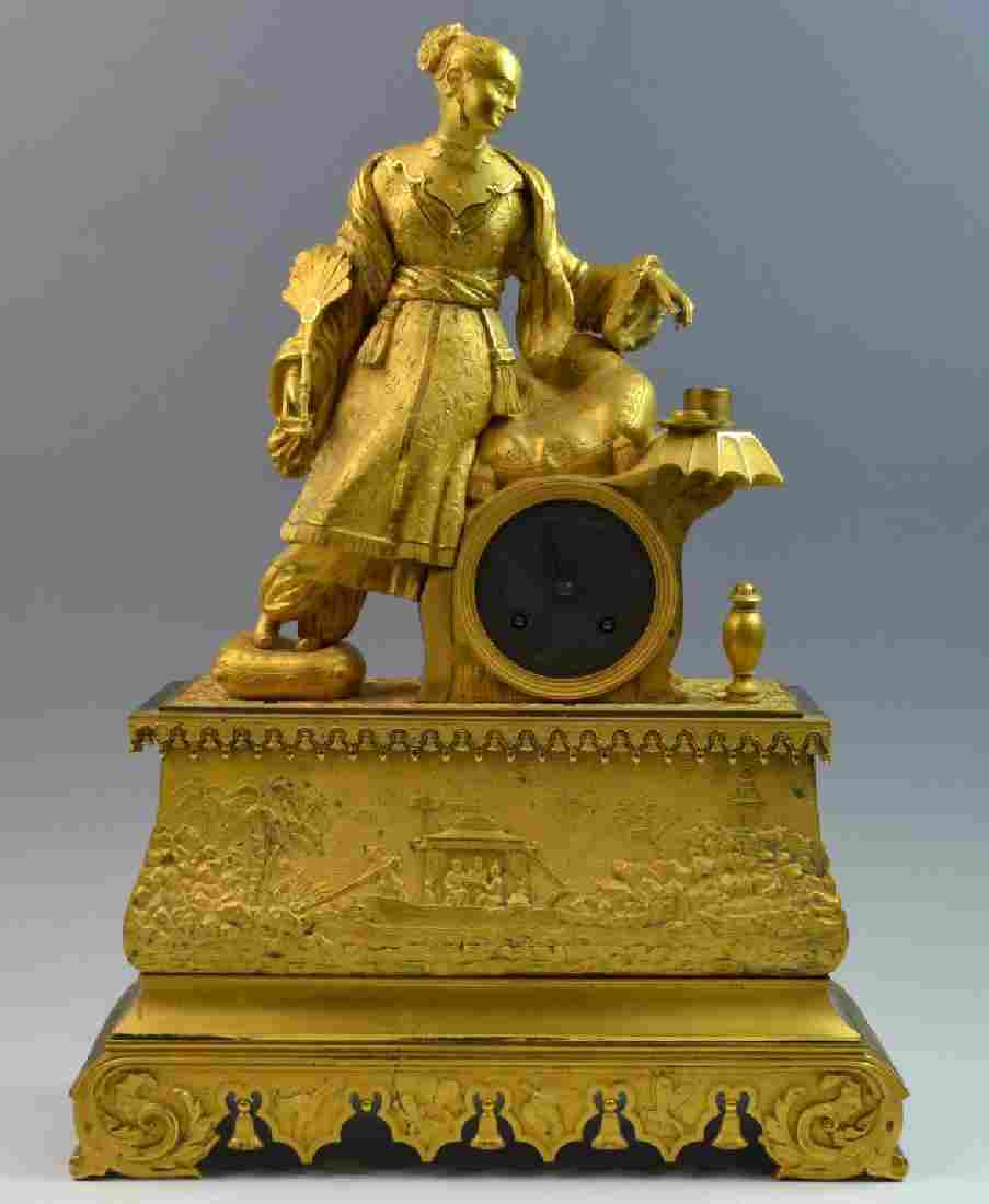 French Empire Bronze Gilt Clock w/ Chinese Figure