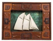Tramp Art Sailboat Shadow Frame