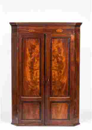 English Regency Mahogany Inlaid Hanging Corner Cupboard