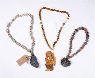 Three Pre-Columbian Bead and Jade Necklaces