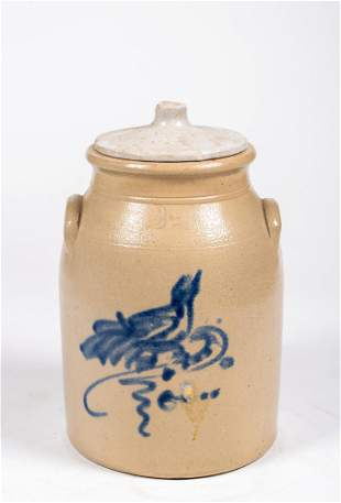 No Name Two Gallon Stoneware Churn with Blue Bird