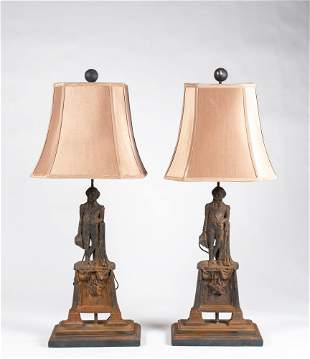 Pair of George Washington Cast Iron Lamps