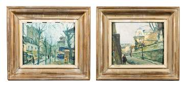 Pair of Swedish 20thC Cityscape Oil Paintings