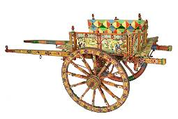 Important Italian Paint Decorated Donkey Cart by