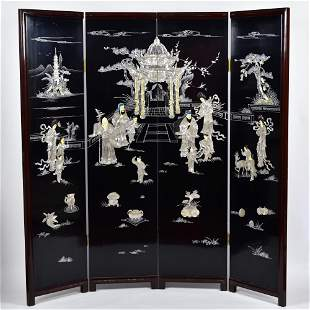 20thC Screen with Mother of Pearl Figural and Temple