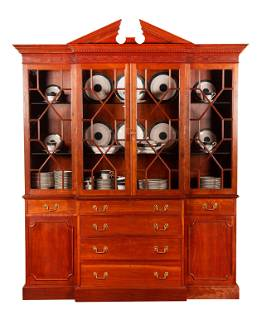 20thC Chippendale Style Two Part Cherry Breakfront