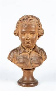 French Terracotta Bust Signed A. (Augustin) Pajou
