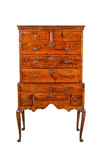 Tiger Maple Queen Anne Highboy of a Small Size