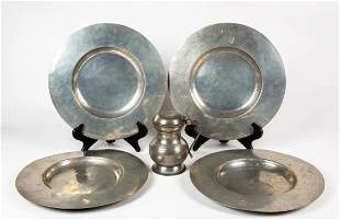 Four 17thC Style Pewter Chargers and Tankard