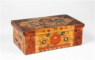 Poplar Wood Polychrome Paint Decorated Box