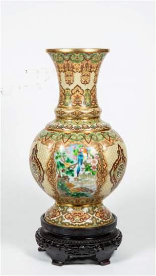 20thC Chinese Palace Size Cloisonne Vase