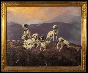 L19thC American or Scottish Six Hunting Dogs Oil