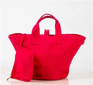 Hermes Pink Canvas Handbag