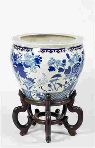 Modern Blue and White Chinese Planter