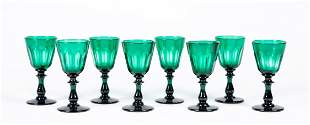Set of Eight Blown Emerald Green Cordials