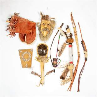 Seven Native American Ceremonial Objects and Pair of
