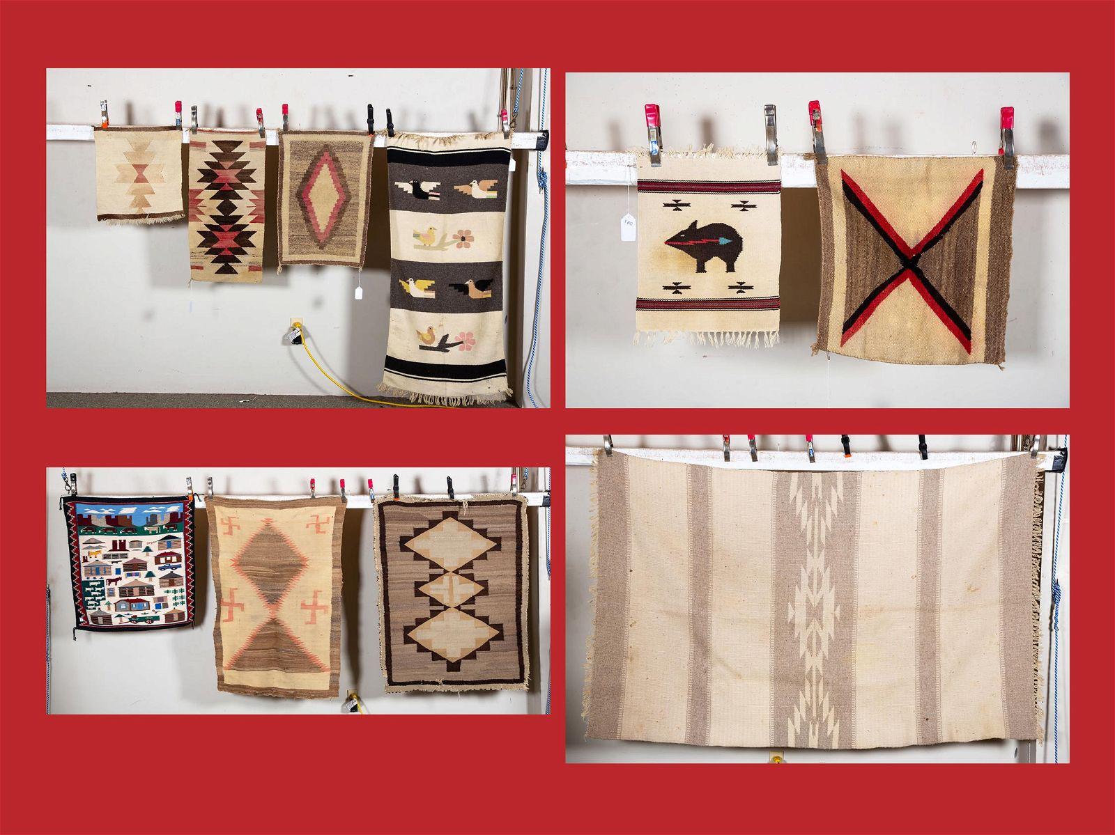 "Ten Navajo Scatter Rugs Including ""Ortecas"" Weavings"