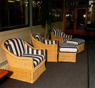 """""""Walters Wicker INC"""" New York Three Club Chairs and Two"""