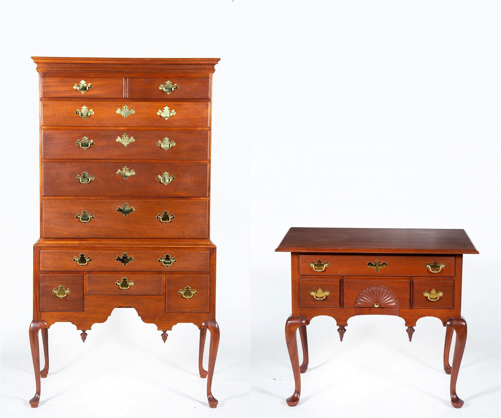Queen Anne Style Lowboy and High Boy