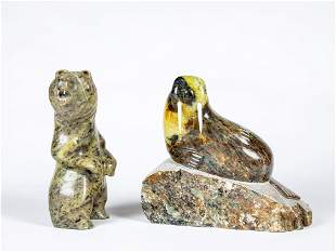 Two Inuit Carved Soapstone Sculptures by Talmadge and