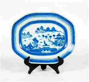 19thC Chinese Export Blue and White Canton Platter