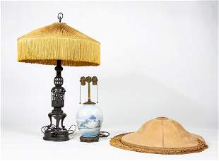 Two Table Lamps and One Silk Shade