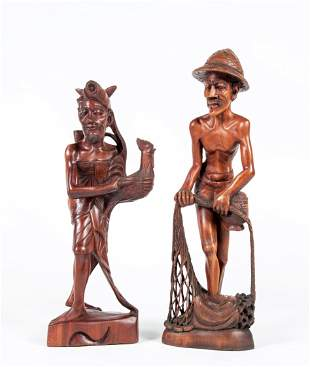 Two Asian Carved Wooden Figures