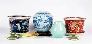 Lot of Six Asian Style Porcelain Pieces and Others