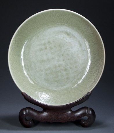 Pre- 1700 Chinese Longquan Celadon Charger.