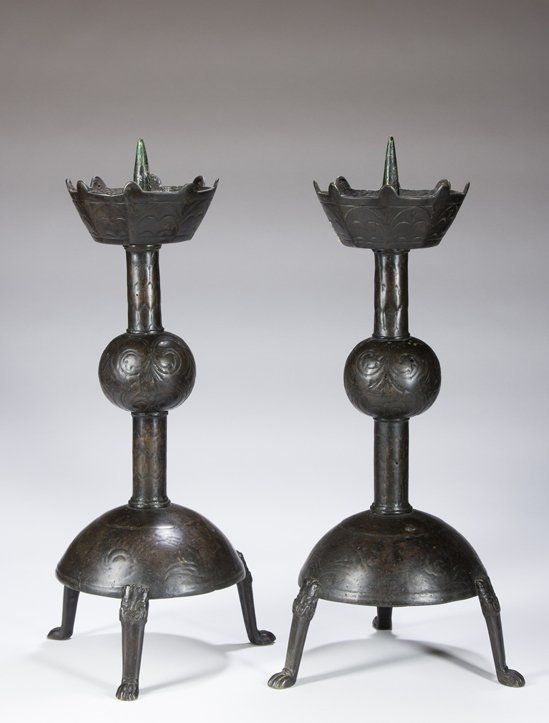 Pair of Chinese Bronze Pricket Candlesticks.