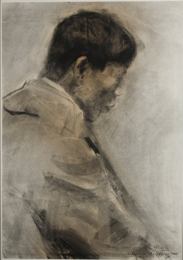 Leopold Gould Seyffert charcoal on paper painting.