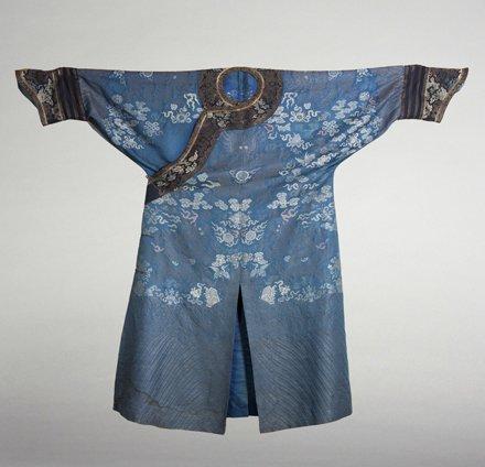 Antique Chinese Blue Brocade dragon motif robe.