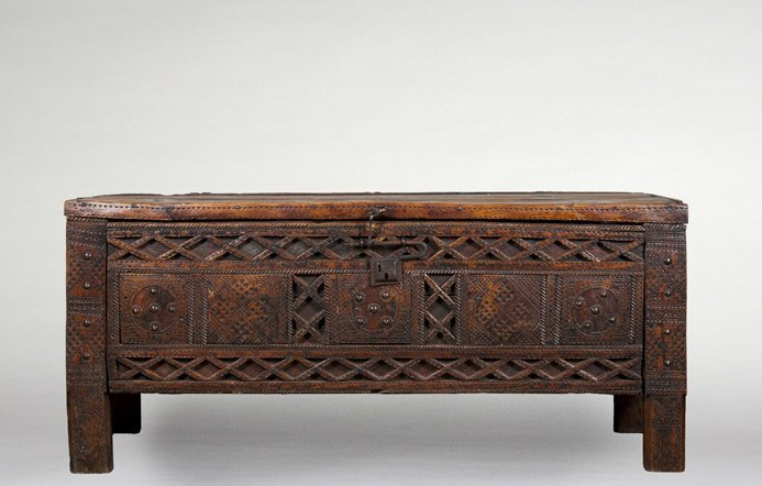 Early Spanish Vargueno carved chest