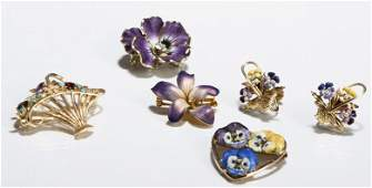 14k Gold and Gem Stone Flower Pins and Earrings