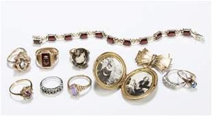 Gold Semi Precious Stone and Costume Jewelry