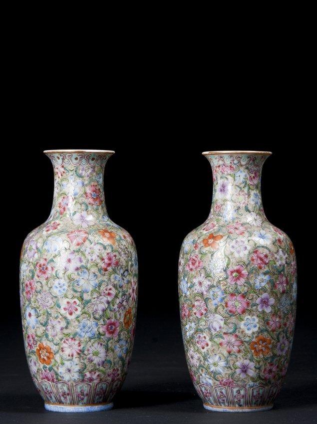 Pair of Chinese Millefiori Vases