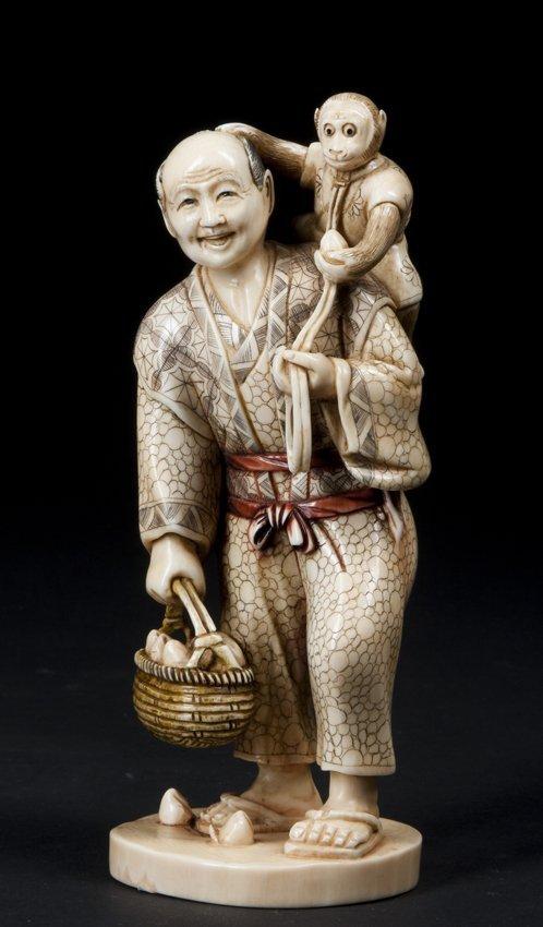 19th Century Ivory Japanese Okimono