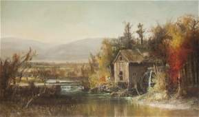 Harrison Bird Brown landscape of a water powered mill