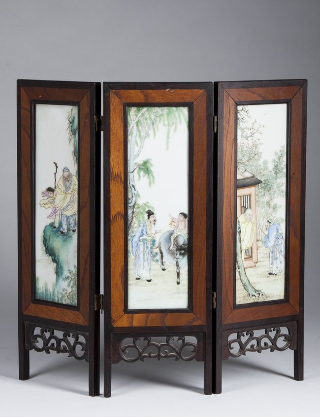 Chinese Table Screen with hand painted interior tiles.
