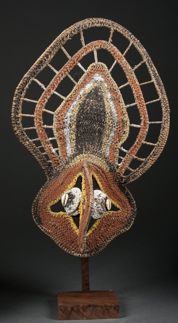 A woven basketry mask for agricultural festivals