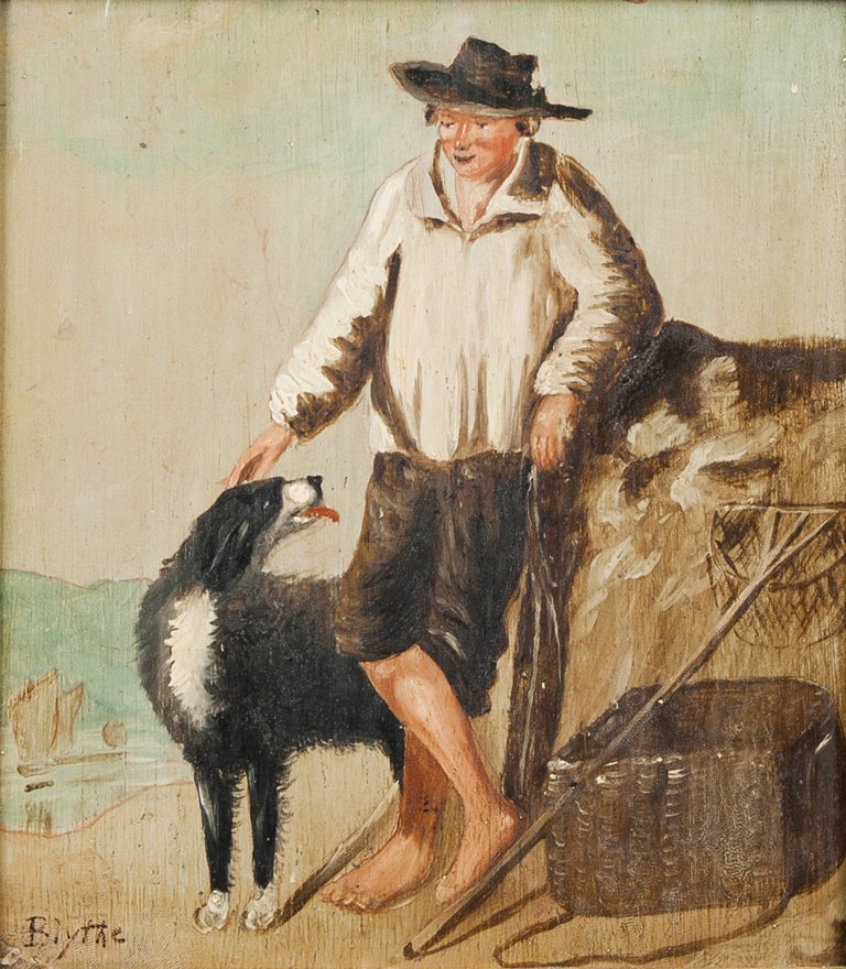 David Gilmour Blythe, oil on board of a fisherman