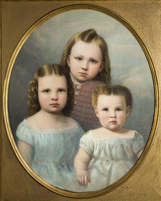 Anson Daniels, oil on canvas portrait of a three