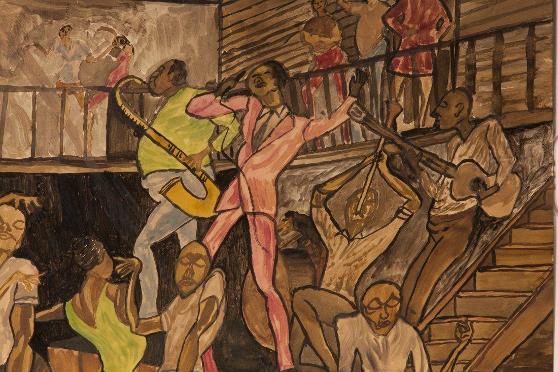 Attributed Ernie Barnes, watercolor of The Sugar Shack - 3
