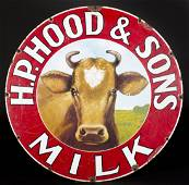 """""""H.P. Hood and Sons Milk"""" Single Sided Metal Sign"""