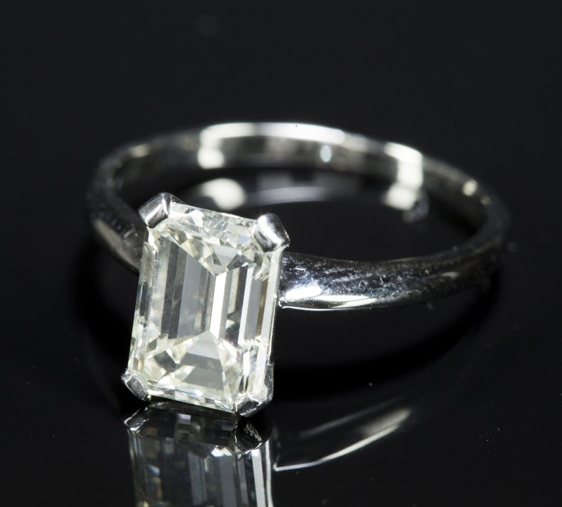 Emerald Cut Diamond, set as a ring, unmarked probably