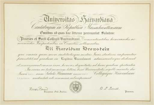 Harvard Law School Diploma, signed Roscoe Pound and